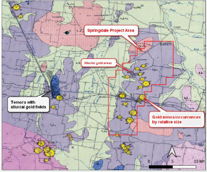 Springdale Project – located of historical Mine Workings